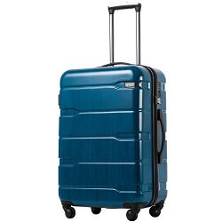 Coolife Luggage Expandable Suitcase PC+ABS Spinner 20in 24in 28in Carry on (Caribbean Blue new,  ...