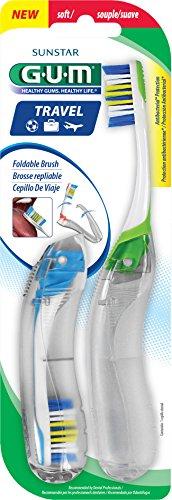 Sunstar 153V GUM Travel Toothbrush, Antibacterial Bristles, Value Pack