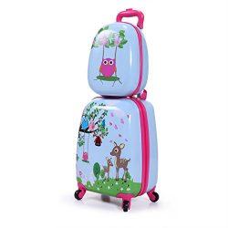 JAXPETY Kids Carry On Luggage Set 2Pc 12″ 16″Upright Hard Side Hard Shell Suitcase ( ...