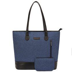 UtoteBag Women 15.6 inch Laptop Tote Bag Notebook Shoulder Bag Lightweight Multi-Pocket Nylon Bu ...