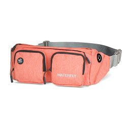 WATERFLY Fanny Packs Water Resistant Waist Bag(Newer Version) for Men Women Travel Running (Red)