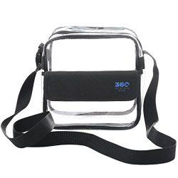 360 DESIGN BOX Clear Cross-Body Messenger Shoulder Bag 8″x8″, Adjustable Strap and V ...
