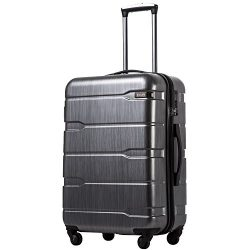 Coolife Luggage Expandable Suitcase PC+ABS Spinner 20in 24in 28in Carry on (Charcoal new, L(28in))