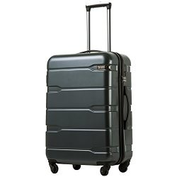 Coolife Luggage Expandable(28″) Suitcase PC+ABS Spinner 20in 24in 28in Carry on (Teal, L(2 ...