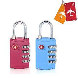TSA Approved Luggage Locks (2 Pack) ,Supercope-4 Digit Combination Padlock for Travel Luggage Ba ...