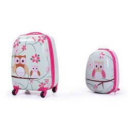 JAXPETY 2Pc 12″ 16″ Kids Carry On Luggage Set Upright Hard Side Hard Shell Suitcase