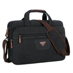 BAOSHA BC-09 17 inch Canvas Laptop Computer Bag Messenger Bag Multicompartment Briefcase (Black)