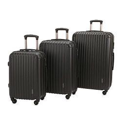 3 PC Luggage Set Durable Lightweight Spinner Suitecase LUG3 9018 BLACK
