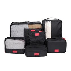 DOKEHOM Thickened 7 Set Packing Cubes Travel Organizers (Black)