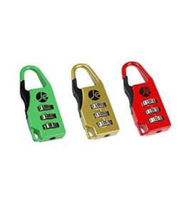 3- Dial Combination Luggage Metal Lock 3 Pack with Bonus Free Travel Bag (RED, GREEN, GOLD)
