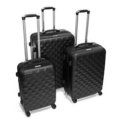 ALEKO LG52BK ABS Luggage Suitcase Set for Travel with Combo Lock, 3 Piece, Diamond Pattern, Black
