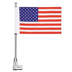 ECLEAR Rear Motorcycle Chrome American Flag Durable Adjustable Flag Pole Luggage Rack Mount Kit  ...