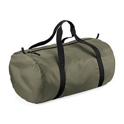 BagBase Packaway Barrel Bag/Duffel Water Resistant Travel Bag (32 Liters) (One Size) (Olive Gree ...