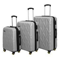 3 PC Luggage Set Durable Lightweight Hard Case Spinner Suitecase LUG3 SS505A SILVER