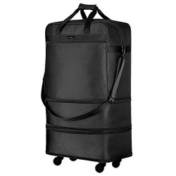 Hanke Expandable Foldable Suitcase Luggage Rolling Travel Bag Duffel Garment Tote Bag for Men Women