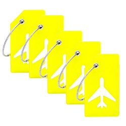 5Pack Silicone Luggage Tag With Name ID Card Perfect to Quickly Spot Luggage Suitcase By CPACC ( ...