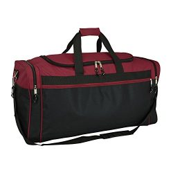 DALIX 25″ Extra Large Vacation Travel Duffle Bag (Black, Grey, Navy Blue, Red, Camo) (Maroon)