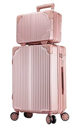 Women ABS Spinner 8 Wheels Luggage and Cosmetic Bag Set 2PCS Suitcase Set – 20 Inch Rose Gold