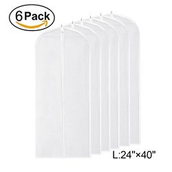 Garment Bag Clear,40 inch Suit Bag Moth Proof Garment Bags Dust Cover White Breathable Full Zipp ...