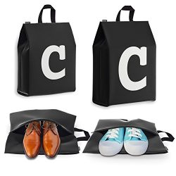 Personalized Initial Travel Shoe Bag (4 Pack) for Men, Women and Kids – (Letter C)