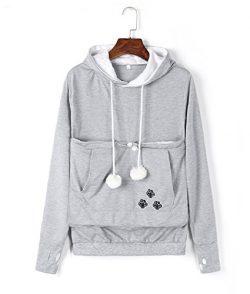 Unisex Cat Ear Big Kangaroo Pouch Hoodie Long Sleeve Pet Cat Dog Holder Carrier Sweatshirt (L, Grey)