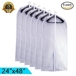EANXO Garment Bag Clear 48 inch Lightweight White PEVA Breathable Dance Bags (Set of 6) with Stu ...