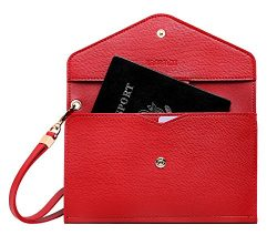 Krosslon Womens Travel Passport Holder Rfid Tri-fold Wallet Document Organizer Bag with Wristlet ...
