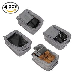 Portable Travel shoe bags for Women Waterproof Zippered Storage Bag with 4 pcs (Gray)