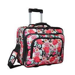World Traveler Women's Fashion Print Rolling 17″ Case Laptop Bag, Flowers, One Size