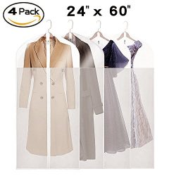 La Saveur Garment bags for Closet, Truely See Through, 4 Pack 60 inch Extra Long Dust Proof Suit ...