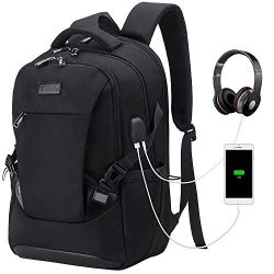 Tzowla Travel Laptop Backpack, Waterproof Business Work Backpack with USB Charging Port & He ...