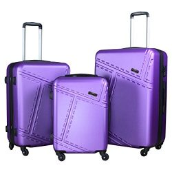 3 PC Luggage Set Durable Lightweight Spinner Suitecase LUG3 1610 PURPLE