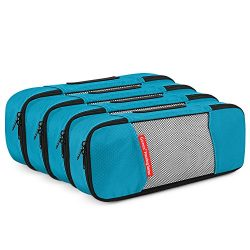 4 Slim Packing Cubes Travel Luggage Organizers Blue