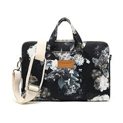 Canvaslife Black peony Pattern 15 inch Waterproof Laptop Shoulder Messenger Bag Case With Reboun ...
