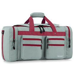 Gonex 45L Travel Duffel, Gym Sports Luggage Bag Water-resistant Many Pockets(Gray)