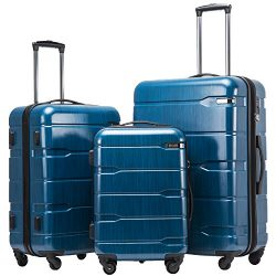 Coolife Luggage Expandable 3 Piece Sets PC+ABS Spinner Suitcase 20 inch 24 inch 28 inch (Caribbe ...