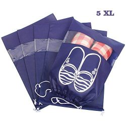 tomons Travel Shoe Bags Set of 5 Waterproof Drawstring Shoe Storage Bags For Men & Women