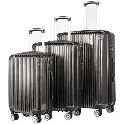 Coolife Luggage Expandable 3 Piece Sets PC+ABS Spinner Suitcase 20 inch 24 inch 28 inch (black)