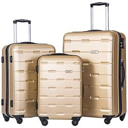 Merax 3 Piece Luggage Set ABS Luggage Lightweight Spinner Suitcase