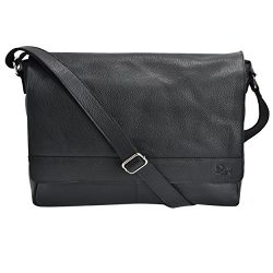 Leather Laptop Messenger Bag Office Briefcase College Bag (Black Pebble)