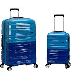 Rockland Luggage 20 Inch and 28 Inch 2 Piece Expandable Spinner Set, 2 Tone Blue