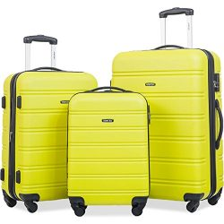 Merax Travelhouse Luggage Set 3 Piece Expandable Lightweight Spinner Suitcase (Lemon)