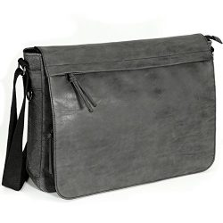 "Mens Laptop Messenger Bags 15.6"" Water Resistant Shoulder Bag Tocode PU Leather Canvas Satchel C ..."
