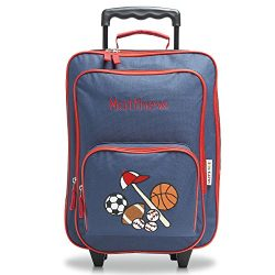 All Sports Personalized Kids Rolling Luggage – 5″ x 12 x 16.75″H, Kids Travel Bag