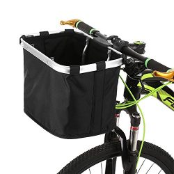 Lixada Bicycle Front Basket Folding Removable Bike Handlebar Basket Pet Cat Dog Carrier Bag Alum ...