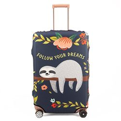 Madifennina Spandex Travel Luggage Protector Suitcase Cover Fit 23-32 Inch Luggage (sloth, L)