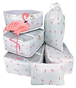6Set Travel Accessories Packing Organizers Cubes (White Flamingo)