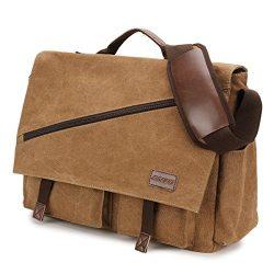 Canvas Messenger Bag,15.6 Inch Mens Satchel Water Resistant Briefcases Vintage Shoulder Bag for  ...