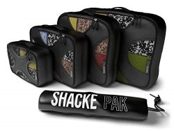 Shacke Pak – 4 Set Packing Cubes – Travel Organizers with Laundry Bag (Black)