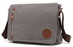 Canvas Satchel Messenger Bag By Magictodoor 13.5″ Laptop Bag (Grey)